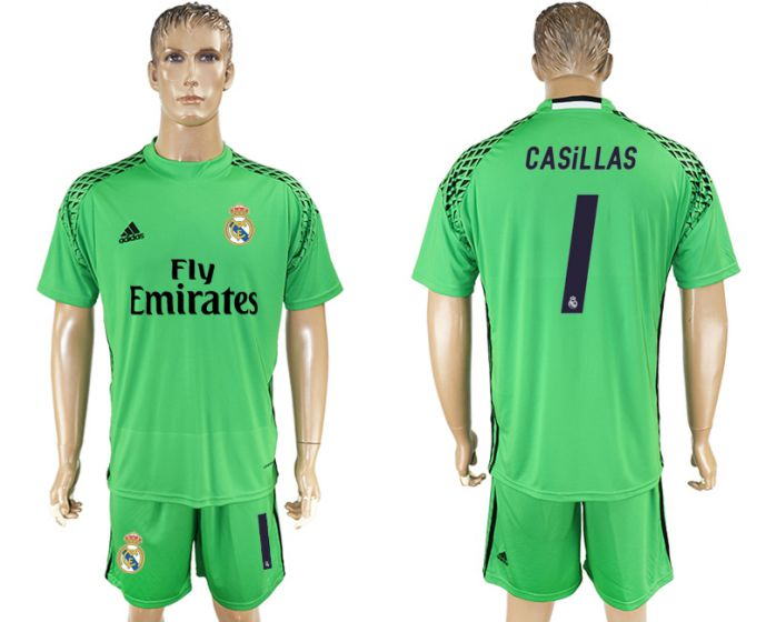 Men 2017-2018 club Real Madrid green goalkeeper 1 Casillas soccer jersey