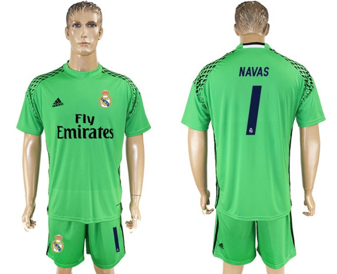 Men 2017-2018 club Real Madrid green goalkeeper 1 Navas soccer jersey