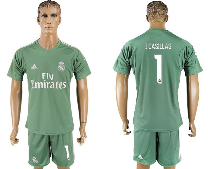 Men 2017-2018 club Real Madrid green goalkeeper 1 green soccer jersey