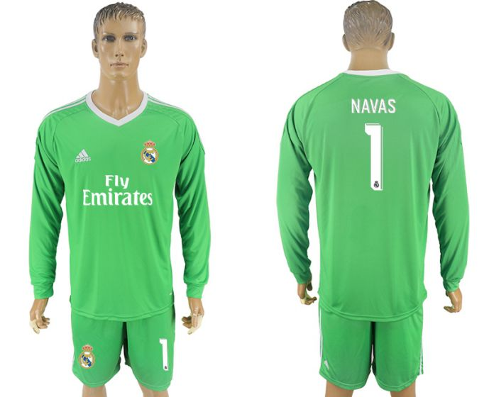 Men 2017-2018 club Real Madrid green goalkeeper long sleeves 1 Navas
