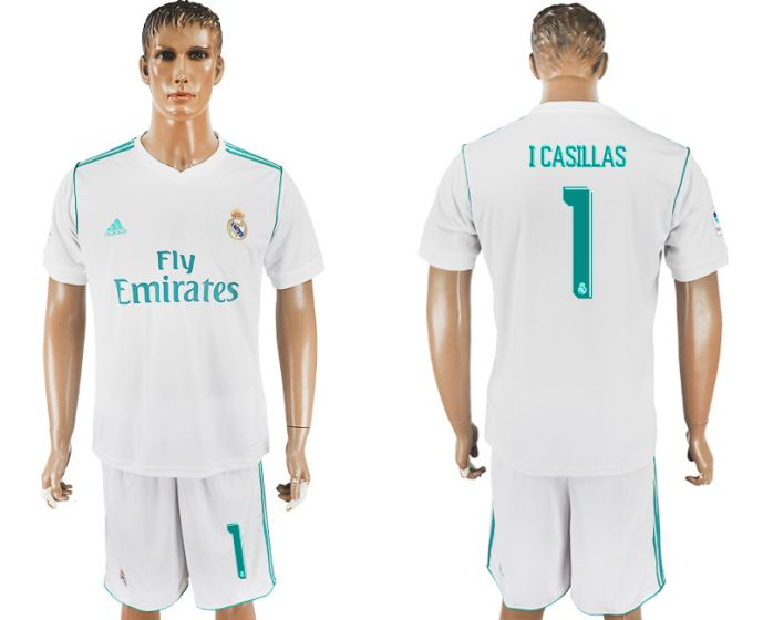 Men 2017-2018 club Real Madrid home 1 I Casillas white soccer jersey