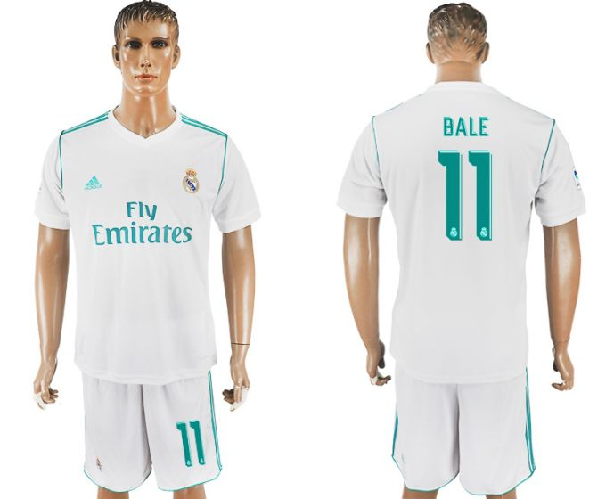 Men 2017-2018 club Real Madrid home 11 white soccer jersey