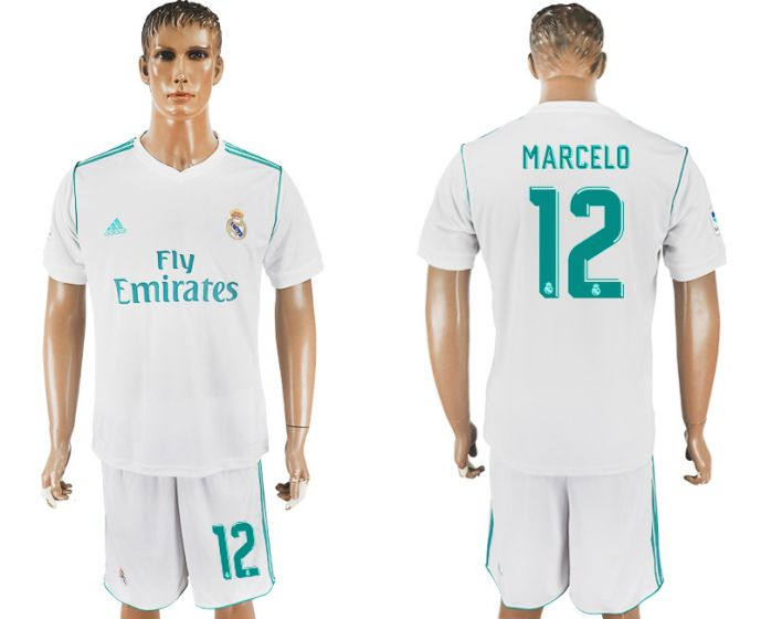 Men 2017-2018 club Real Madrid home 12 white soccer jersey