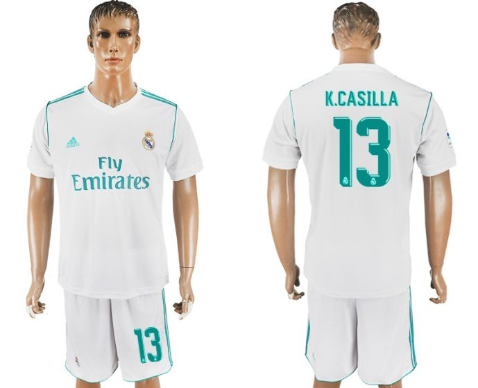 Men 2017-2018 club Real Madrid home 13 white soccer jersey