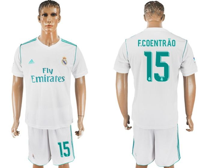 Men 2017-2018 club Real Madrid home 15 white soccer jersey