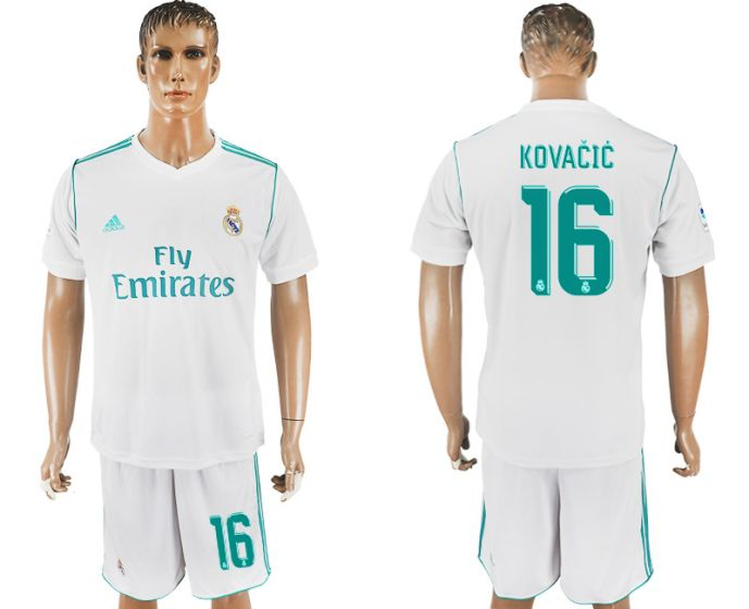 Men 2017-2018 club Real Madrid home 16 white soccer jersey