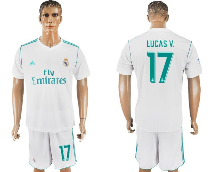 Men 2017-2018 club Real Madrid home 17 white soccer jersey