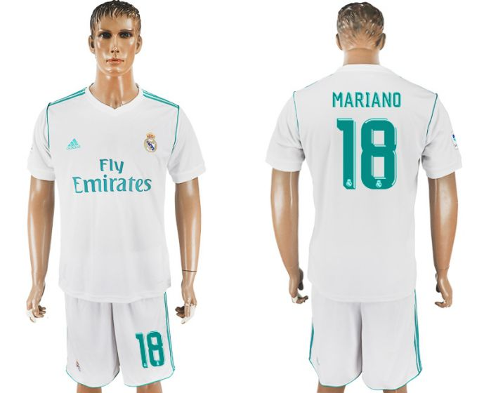 Men 2017-2018 club Real Madrid home 18 white soccer jersey
