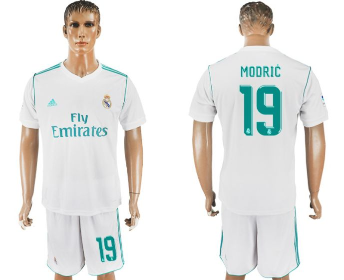 Men 2017-2018 club Real Madrid home 19 white soccer jersey