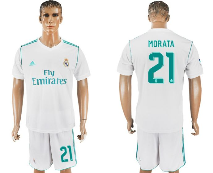 Men 2017-2018 club Real Madrid home 21 white soccer jersey