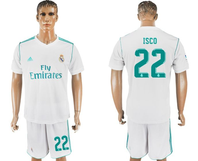 Men 2017-2018 club Real Madrid home 22 white soccer jersey