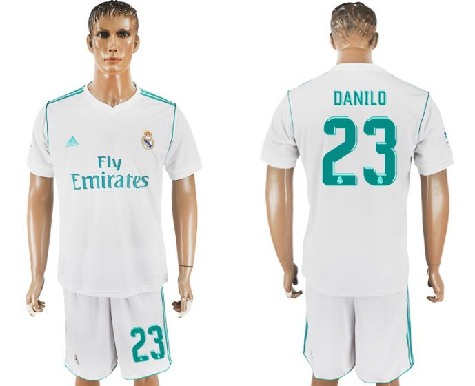 Men 2017-2018 club Real Madrid home 23 white soccer jersey