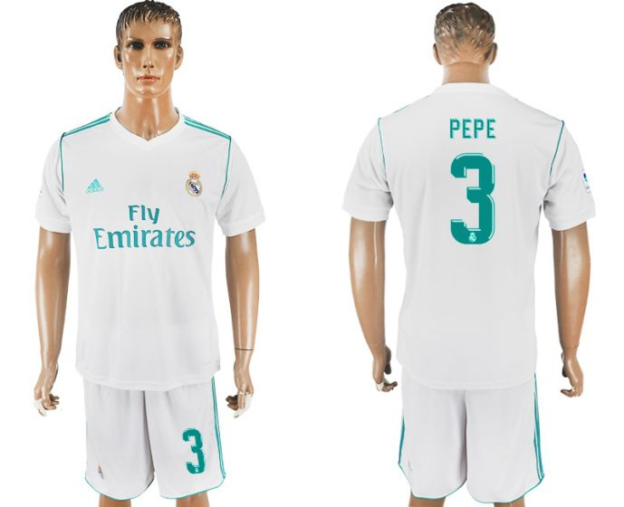 Men 2017-2018 club Real Madrid home 3 white soccer jersey