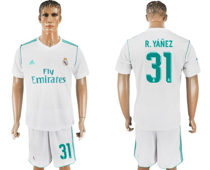 Men 2017-2018 club Real Madrid home 31 white soccer jersey