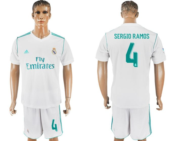 Men 2017-2018 club Real Madrid home 4 white soccer jersey