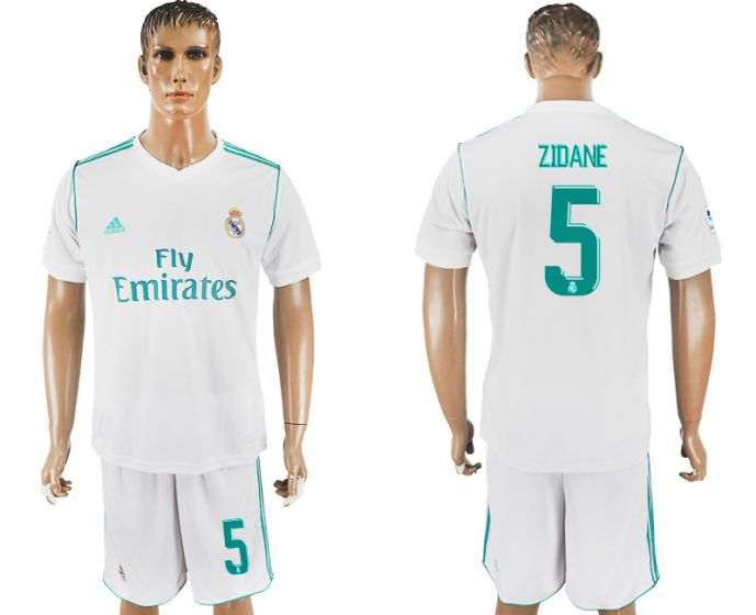Men 2017-2018 club Real Madrid home 5 Zidane white soccer jersey