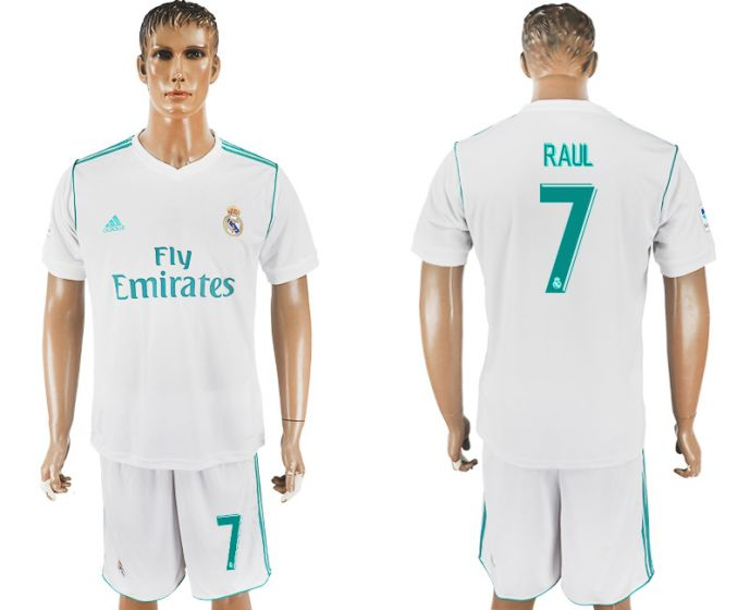 Men 2017-2018 club Real Madrid home 7 Raul white soccer jersey