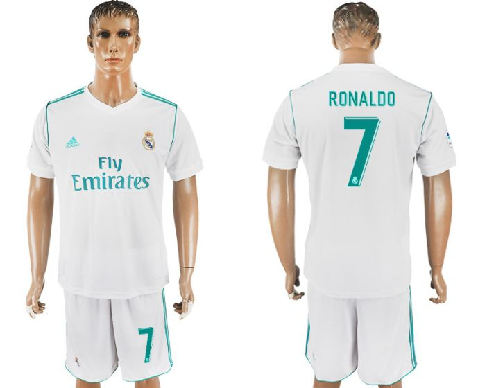 Men 2017-2018 club Real Madrid home 7 white soccer jersey