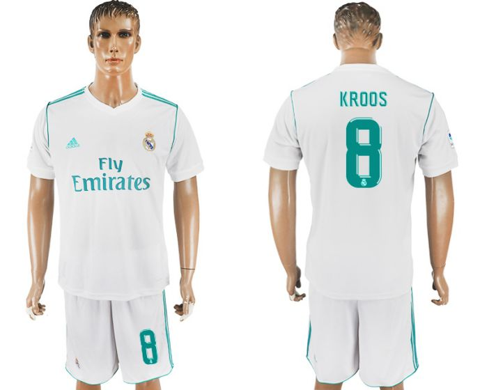 Men 2017-2018 club Real Madrid home 8 white soccer jersey