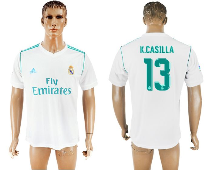 Men 2017-2018 club Real Madrid home aaa version 13 white soccer jersey