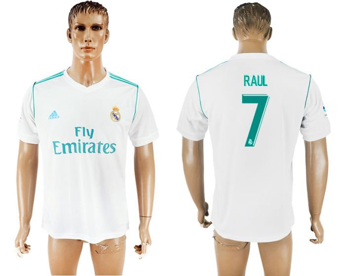 Men 2017-2018 club Real Madrid home aaa version 7 white soccer jersey