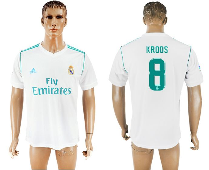 Hommes 2017-2018 club Real Madrid accueil aaa version 8 maillot de football blanc