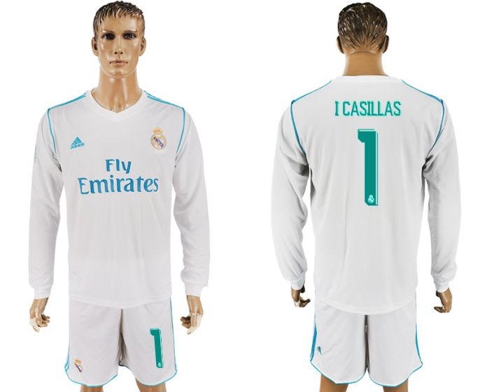 Men 2017-2018 club Real Madrid home long sleeve 1 I Casillas white soccer jersey