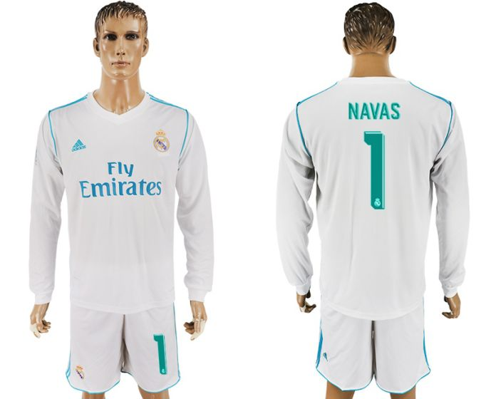 Men 2017-2018 club Real Madrid home long sleeve 1 white soccer jersey