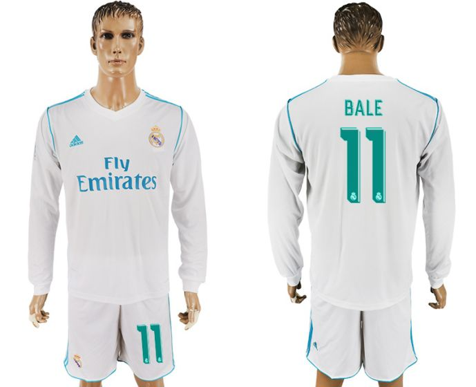 Men 2017-2018 club Real Madrid home long sleeve 11 white soccer jersey