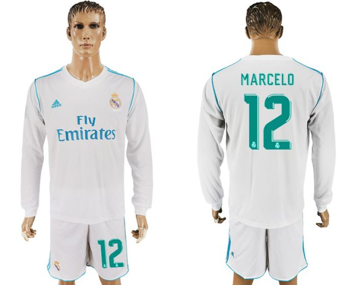 Men 2017-2018 club Real Madrid home long sleeve 12 white soccer jersey