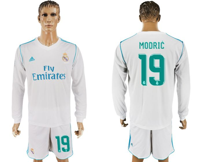 Men 2017-2018 club Real Madrid home long sleeve 19 white soccer jersey