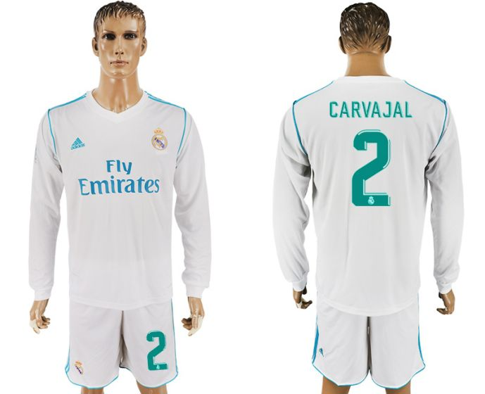 Men 2017-2018 club Real Madrid home long sleeve 2 white soccer jersey
