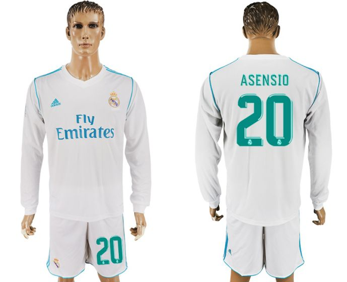 Men 2017-2018 club Real Madrid home long sleeve 20 white soccer jersey
