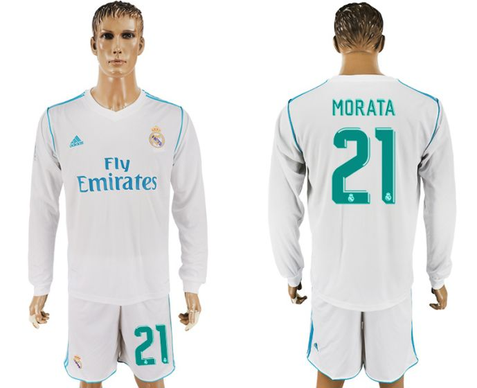 Men 2017-2018 club Real Madrid home long sleeve 21 white soccer jersey