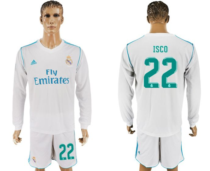 Men 2017-2018 club Real Madrid home long sleeve 22 white soccer jersey