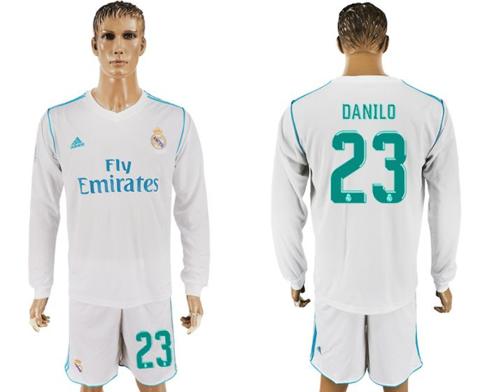 Men 2017-2018 club Real Madrid home long sleeve 23 white soccer jersey