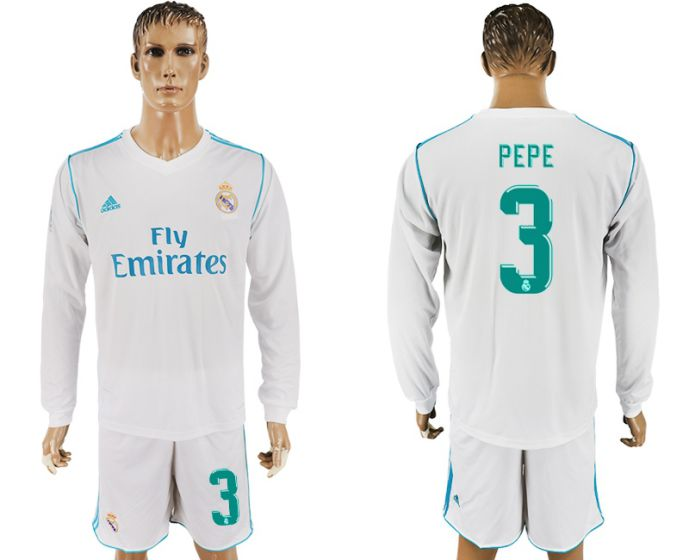 Men 2017-2018 club Real Madrid home long sleeve 3 white soccer jersey