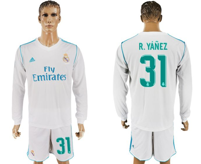 Men 2017-2018 club Real Madrid home long sleeve 31 white soccer jersey