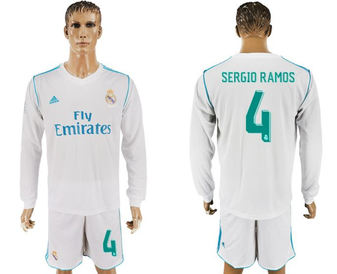 Men 2017-2018 club Real Madrid home long sleeve 4 white soccer jersey