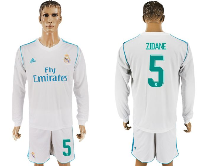 Men 2017-2018 club Real Madrid home long sleeve 5 Zidane white soccer jersey