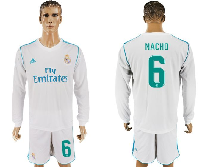Men 2017-2018 club Real Madrid home long sleeve 6 white soccer jersey