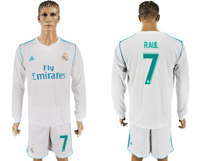 Men 2017-2018 club Real Madrid home long sleeve 7 Rual white soccer jersey
