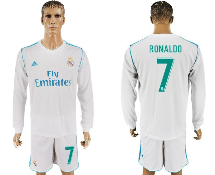 Men 2017-2018 club Real Madrid home long sleeve 7 white soccer jersey