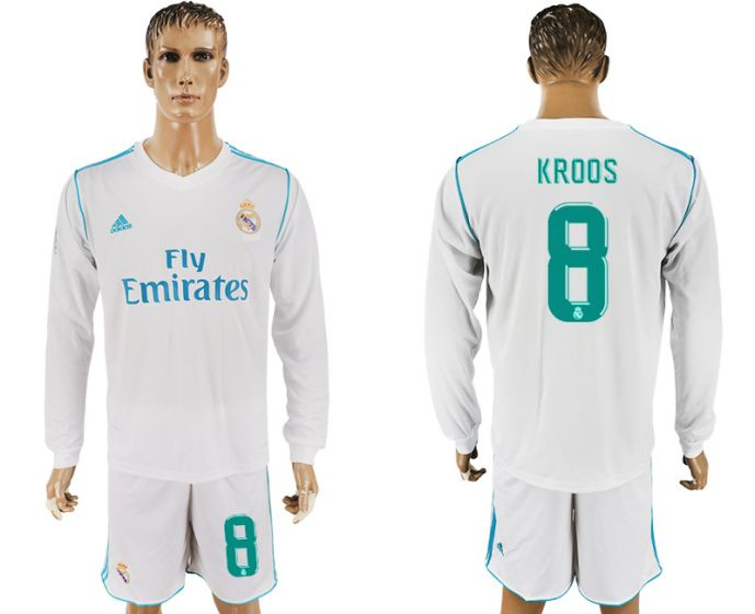 a56dc238d ... Men 2017-2018 club Real Madrid home long sleeve 8 white soccer jersey  ...