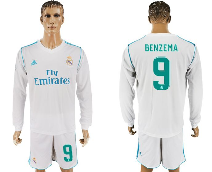 Men 2017-2018 club Real Madrid home long sleeve 9 white soccer jersey