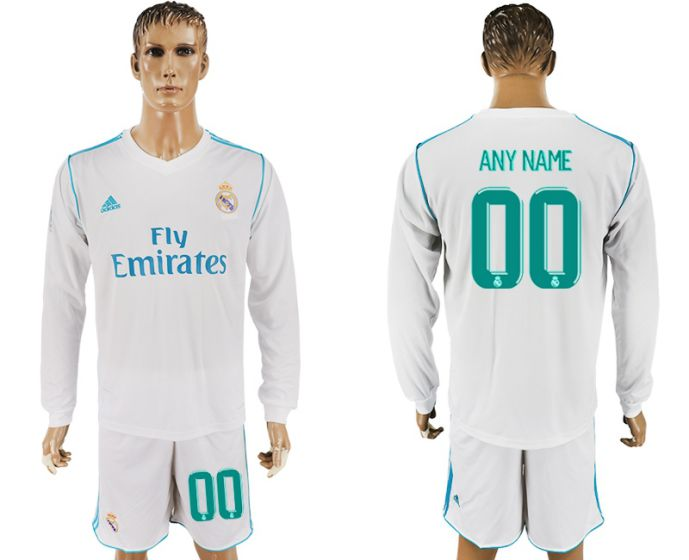Men 2017-2018 club Real Madrid home long sleeve customized white soccer jersey