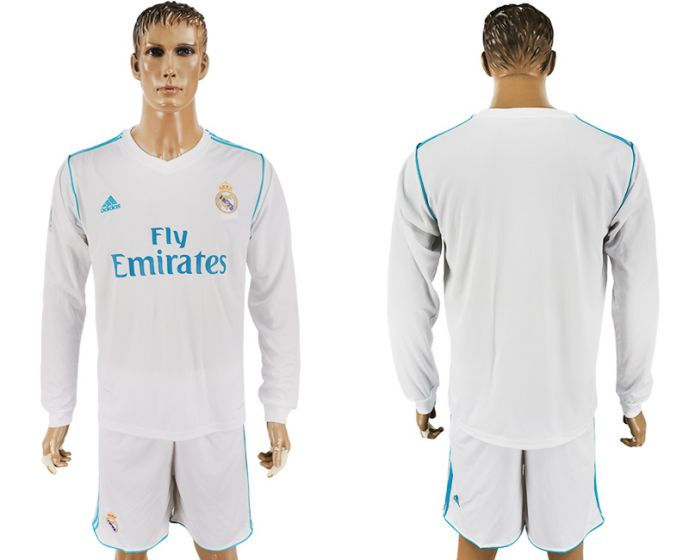 Men 2017-2018 club Real Madrid home long sleeve white soccer jersey