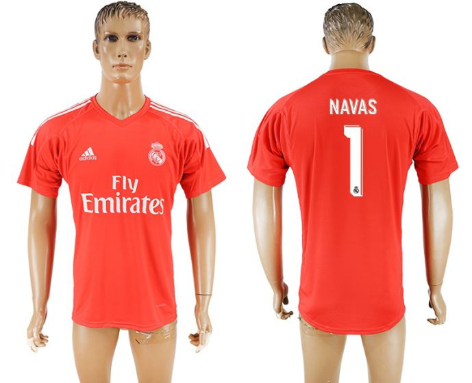 Men 2017-2018 club Real Madrid red goalkeeper aaa version 1 Navas red soccer jersey