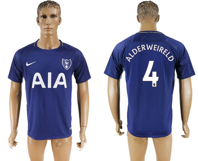 Men 2017-2018 club Tottenham Hotspur away aaa versio 4 blue soccer jersey