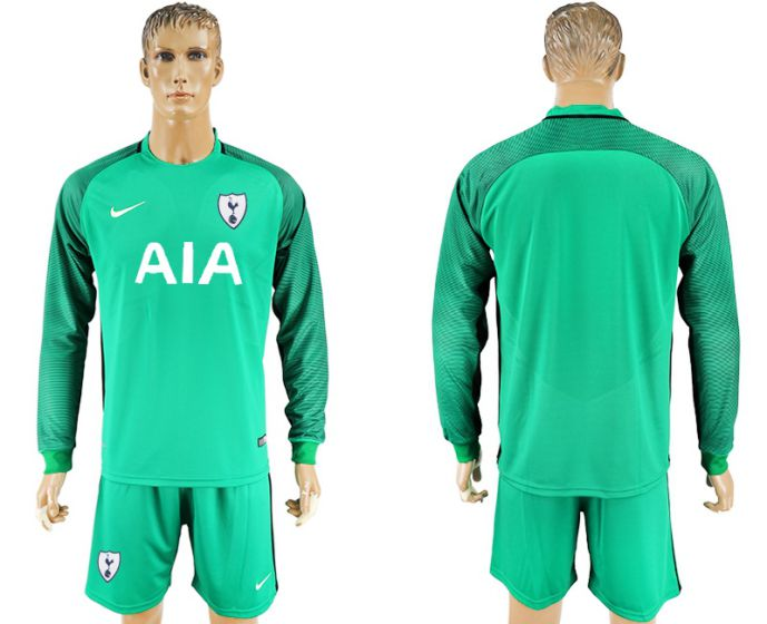Men 2017-2018 club Tottenham Hotspur green goalkeeper long sleeve soccer jersey